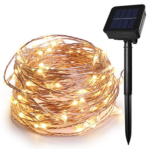 HEEPOW 100LED Solar String Fairy Lights with 468in/12M 3-Strand Copper Wire Lights, 8 Modes Waterproof Led String Lights for Outdoor, Garden, Wedding, Party, Carnival Decorations (Warm White)