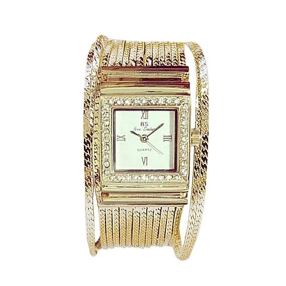 Diseño de Moda Mujeres Aleación Reloj Cuadrado Cuadrado Casual Rhinestone Decoración Señoras Reloj de Pulsera de