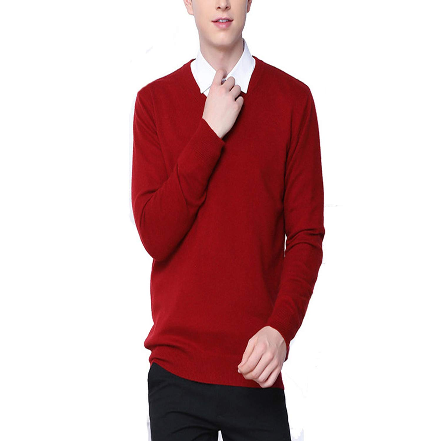 Men Cashmere Wool Knitted Sweater V-Neck Pullovers Male Autumn Winter Basic