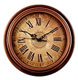 Bien-Zs Silent Non-ticking Round Wall Clocks 12 Inch Vintage Style Decorative Battery Operated Roman Numeral Wall Clock for Home Kitchen Living Room For Sale