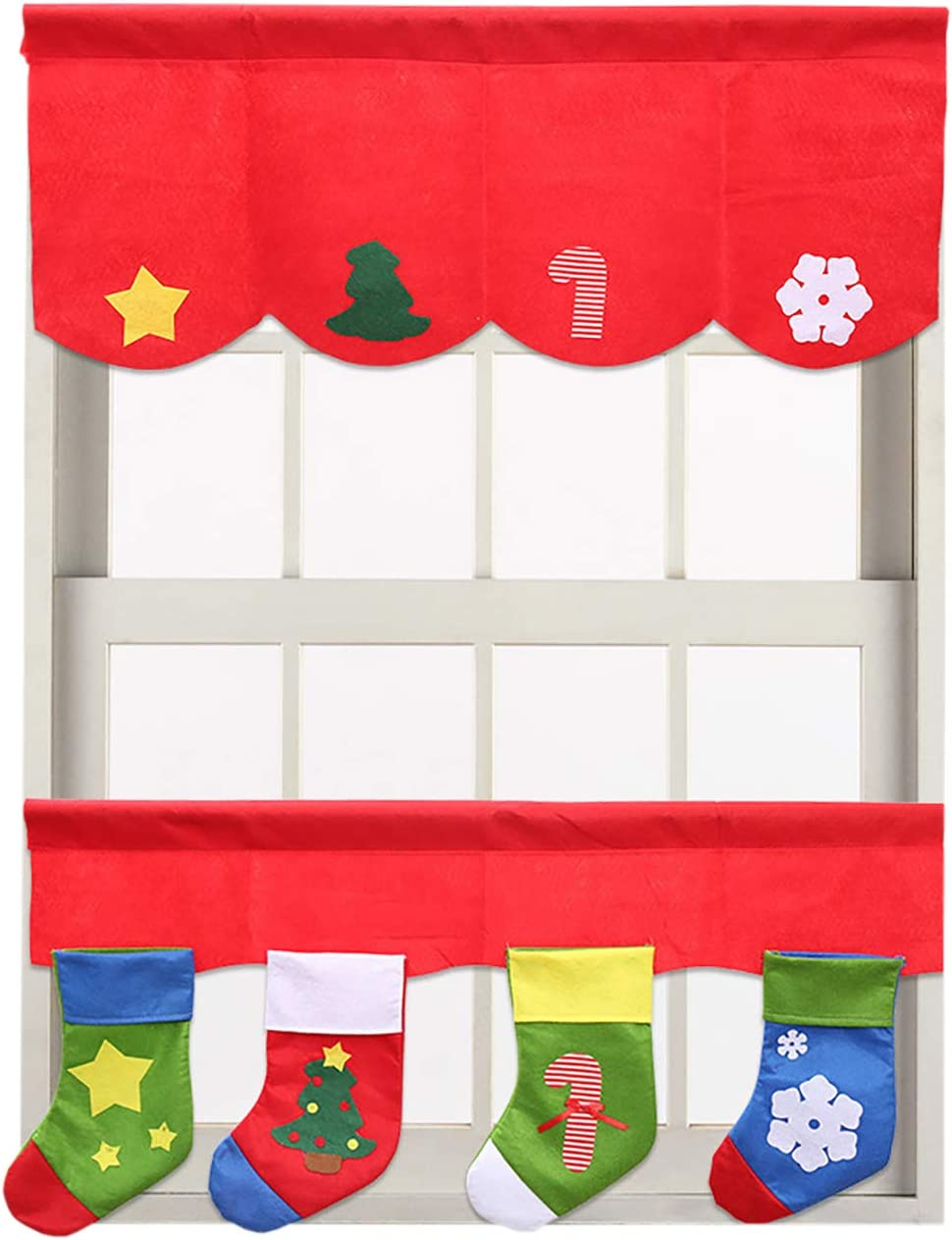 Picturesque Christmas Stockings Curtain Valance Window Decorations Decals 2pcs Set