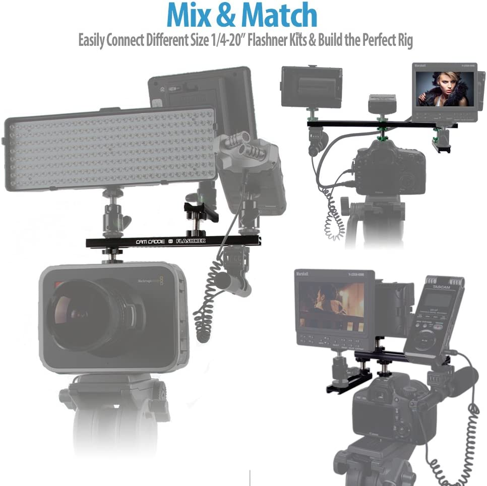 "8 inch // 20 Centimeter 20 Flashner Kit DSLR /& Video Camera Flash Shoe Extension Dual Sided Mounting Bracket Cam Caddie 8-inch /¼/"""