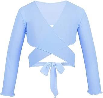 YUUMIN Kids Girls Mesh Long Sleeves Ballet Dance Wrap Top with Adjustable Tie Closure Dancwwear