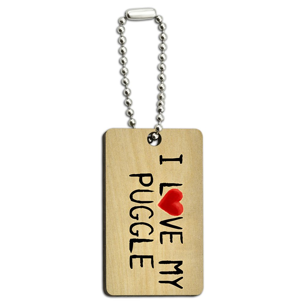 I Love My Puggle Written on Paper Wood Wooden Rectangle Key Chain