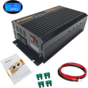 SL Euthtion 1000W Pure Sine Wave Power Inverter 12V DC to 120V AC 60HZ with LCD Display, USB Port, Used in Cars, Solar, Outdoor