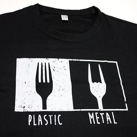 Pampling Camiseta Metal Fork - Heavy Metal - Música - Humor - Color Negro - 100% Algodón - Serigrafía de Alta Calidad bR9tXRb