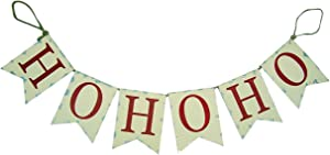 Wowser Tin HOHOHO Banner, Red and White Rustic Hanging Sign for Front Door Or Wall Christmas Decoration, 36 Inches
