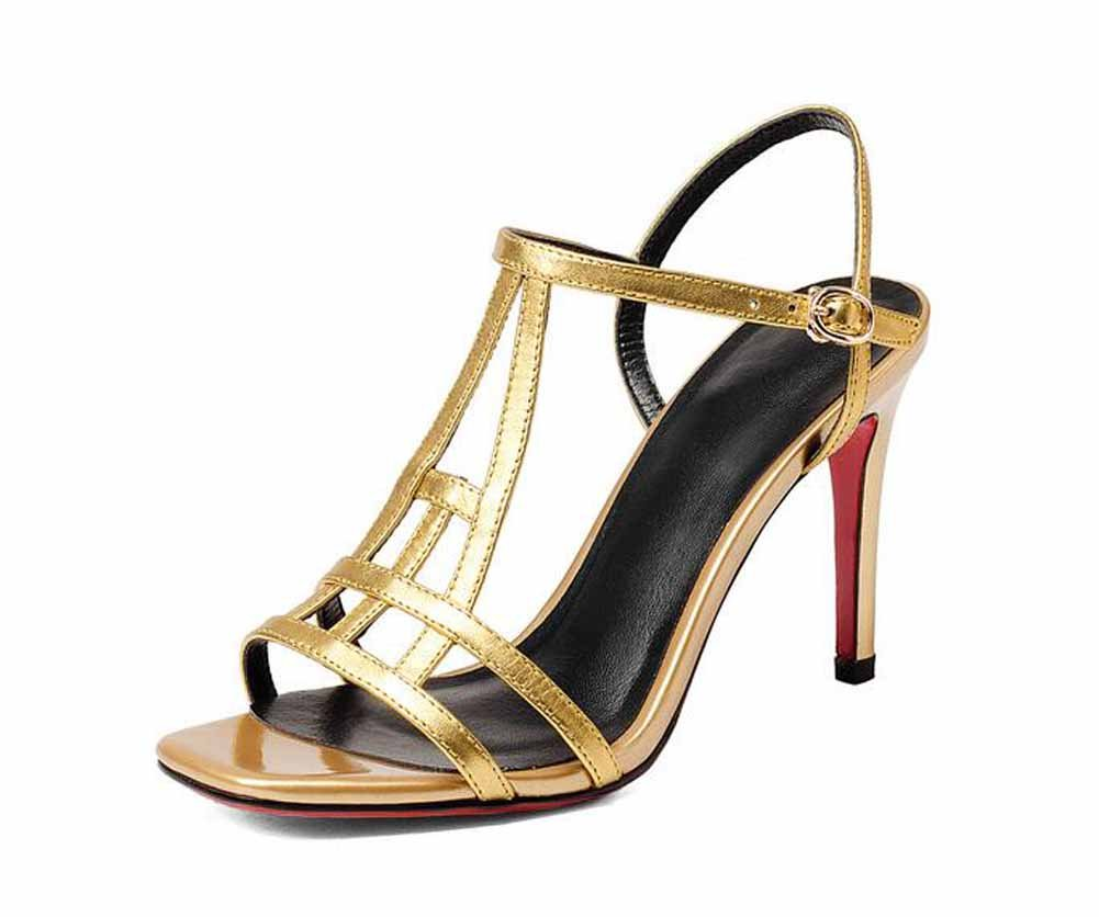 New Frauen Mode Sandalen 2018 Sommer neue Leder Pumps Platz High Heels Schnalle hohle Ankle Strap Sandalen eu size  35|Gold