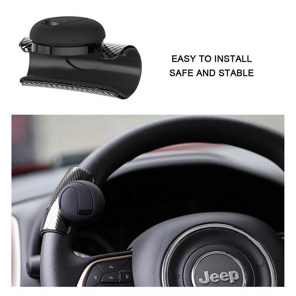Einfache Installations Flexible Steuerung f/ür Auto-Fahrzeug-Schwarzes 360 Grad Drehung KOBWA Lenkrad Dreher Knopf