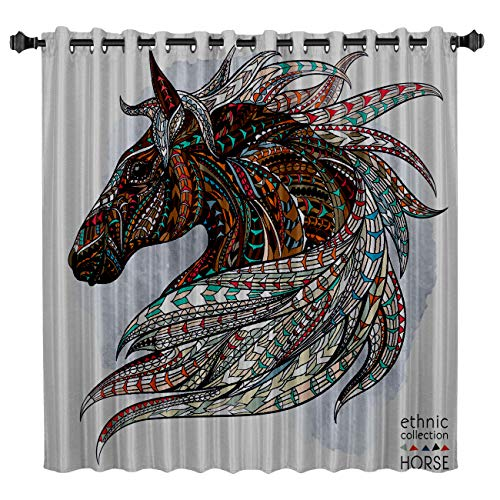 T&H Home Custom Art Panel Ethnic Horse Blackout Curtain by, Magical Fantasy Unicorn Illstration Window Draperies & Curtains for Apartment Bedroom Living Room Kitchen Cafe Office, 52