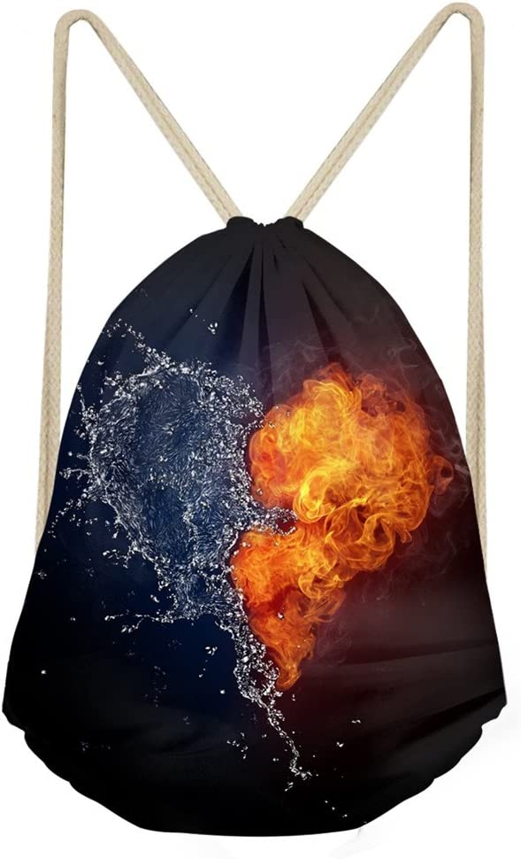 FOR U DESIGNS Sackpack Drawstring Bags Sack 3D Fire and Water Basketball Light-Weight Polyester Backpack