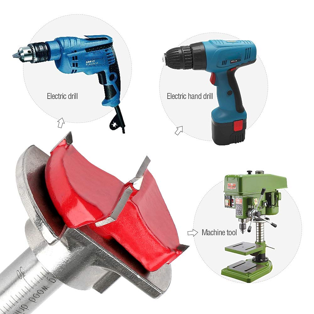 Forstner Drill Bit Set 5 Pcs 15mm 20mm 25mm 30mm 35mm Tungsten Carbide Woodworking Hinge Boring Bit by Hyber/&Cara Adjustable Drilling Depth 15mm-45mm