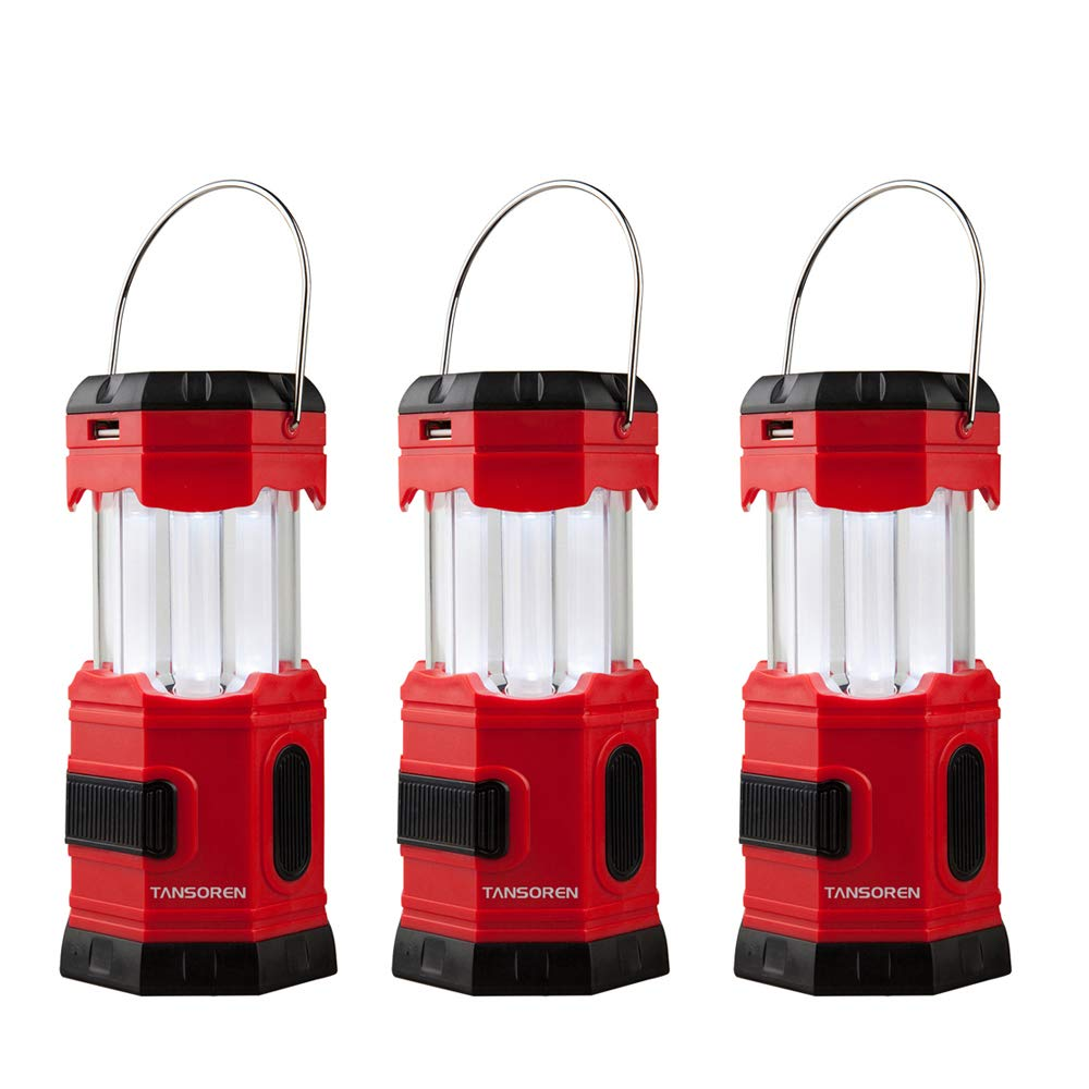 """TANSORE 3 Pack LED Camping Lantern, Solar USB Rechargeable or 3 AA Power Supply, Built-in Power Bank Emergency LED Light with S"""""""