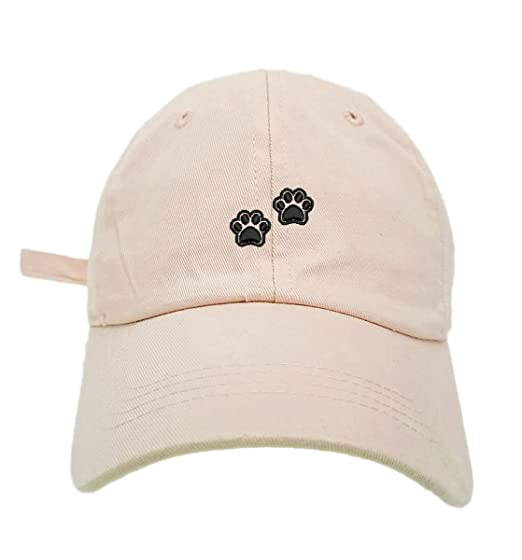 b4548f43cea TheMonsta 2 Dog Paws Style Dad Hat Washed Cotton Polo Baseball Cap (Beige)