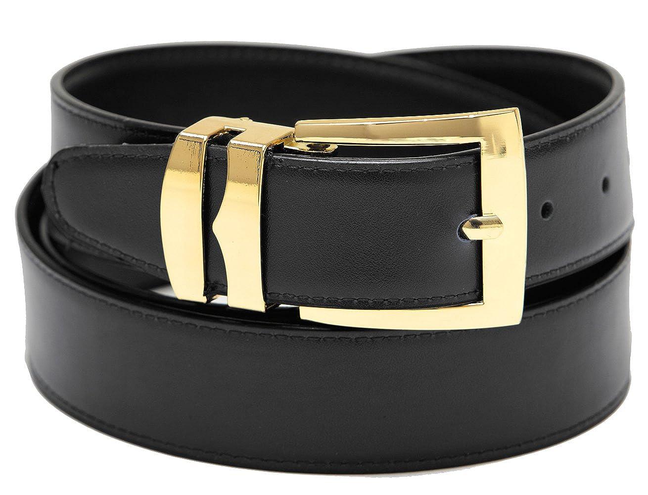 Mens Belt Reversible Wide Bonded Leather Gold-Tone Buckle SILVER//Black