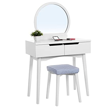 SONGMICS Vanity Table Set With Round Mirror 2 Large Sliding Drawers Makeup Dressing  Table With Cushioned