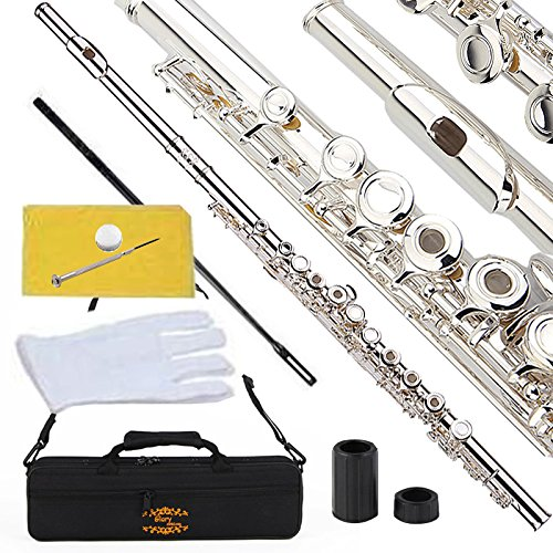 Glory Silver Plated Intermediate Open/Closed Hole C Flute Bundle with Case, Tuning Rod, Polish Cloth, Joint Grease, Pair of Gloves and Screw Driver -
