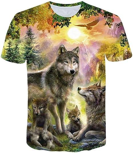 DNBUIFHSD Camiseta para Hombre Camiseta 3D Summer Wolf Animal Printing Camiseta de Manga Corta Blusa Tops Hombre Camisetas Divertidas 3D Animal Camiseta Tallas Grandes color4-4XL: Amazon.es: Deportes y aire libre