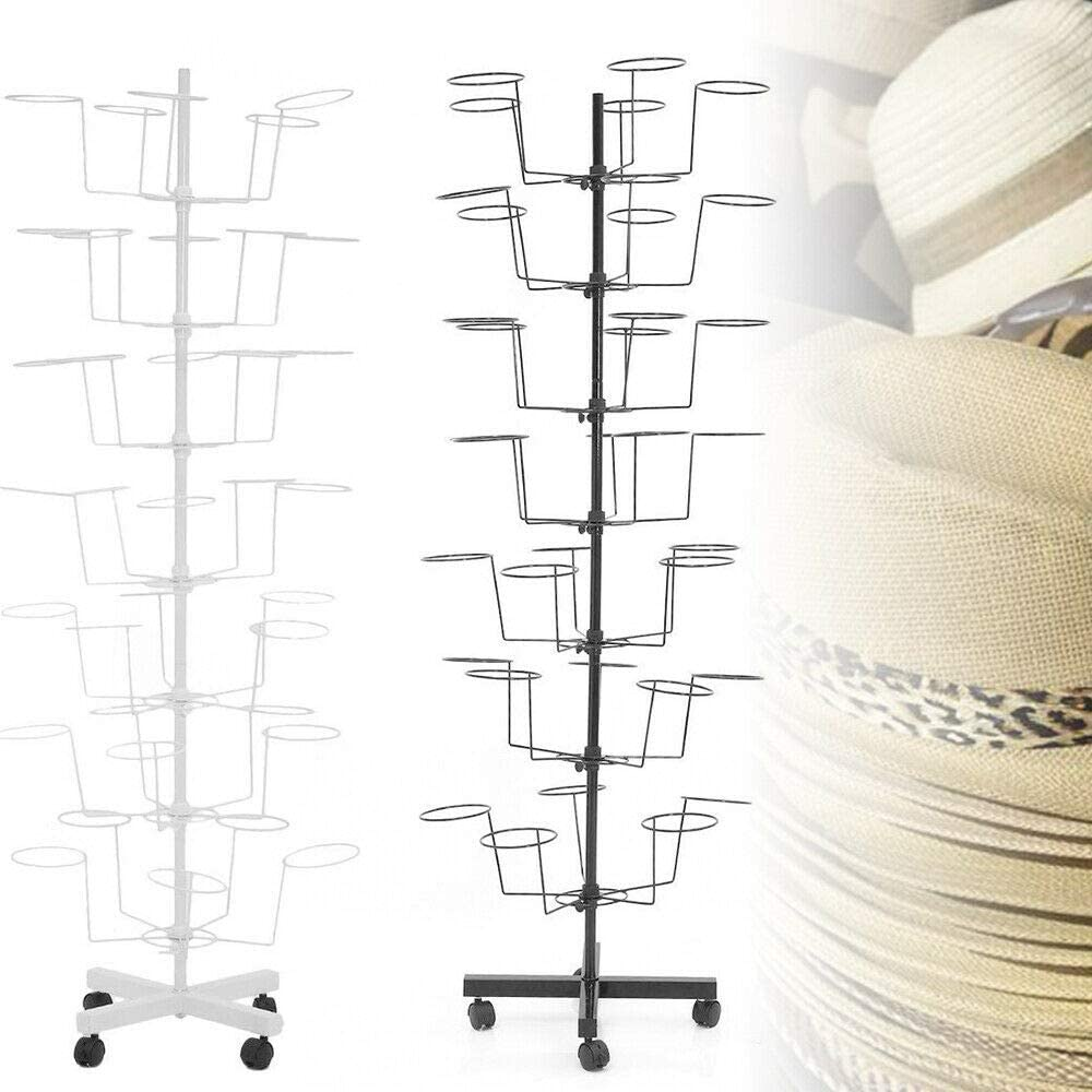 7 Tier Hat Cap Display Retail Rotating Metal Stand Hanger Rack Space Saver 160cm