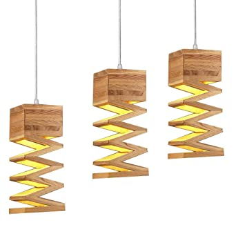 Vintage E27 Hangeleuchte Esszimmerlampe Holz Esszimmer Industrie