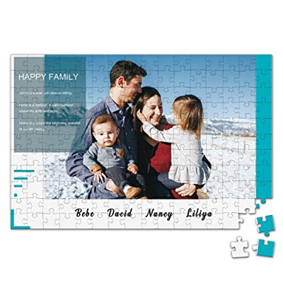 Custom Photo Jigsaw Puzzle for Adults 300 Pieces - Happy Family Personalized Photo Engraved Funny Gifts Custom Puzzles from Photos for Kids Mother's Day Wedding Gift Family Friend: Toys & Games