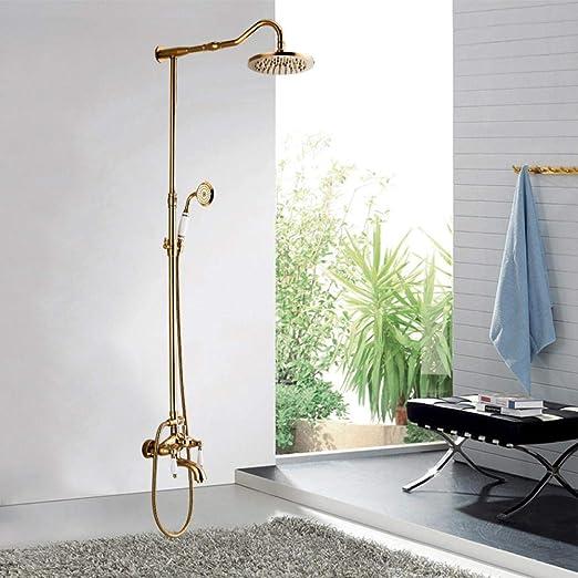 Faucet Traje de baño de latón dorado Cabeza de lluvia ...