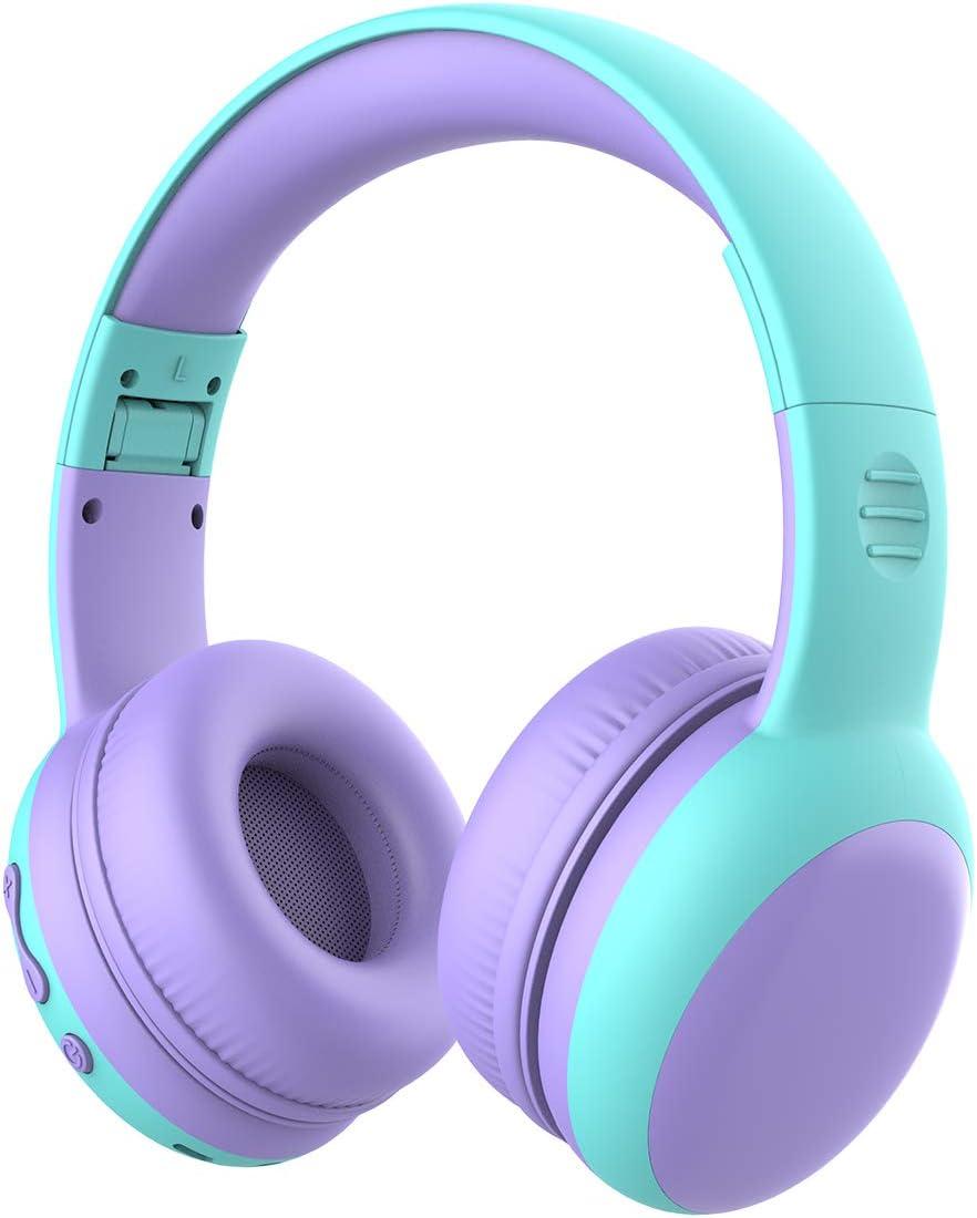Auriculares Bluetooth para niños, Auriculares Plegable para niños con 85dB Volumen Limitado, Auriculares Ajustable y Plegable con micrófono, niñas y niños, Púrpura New Version