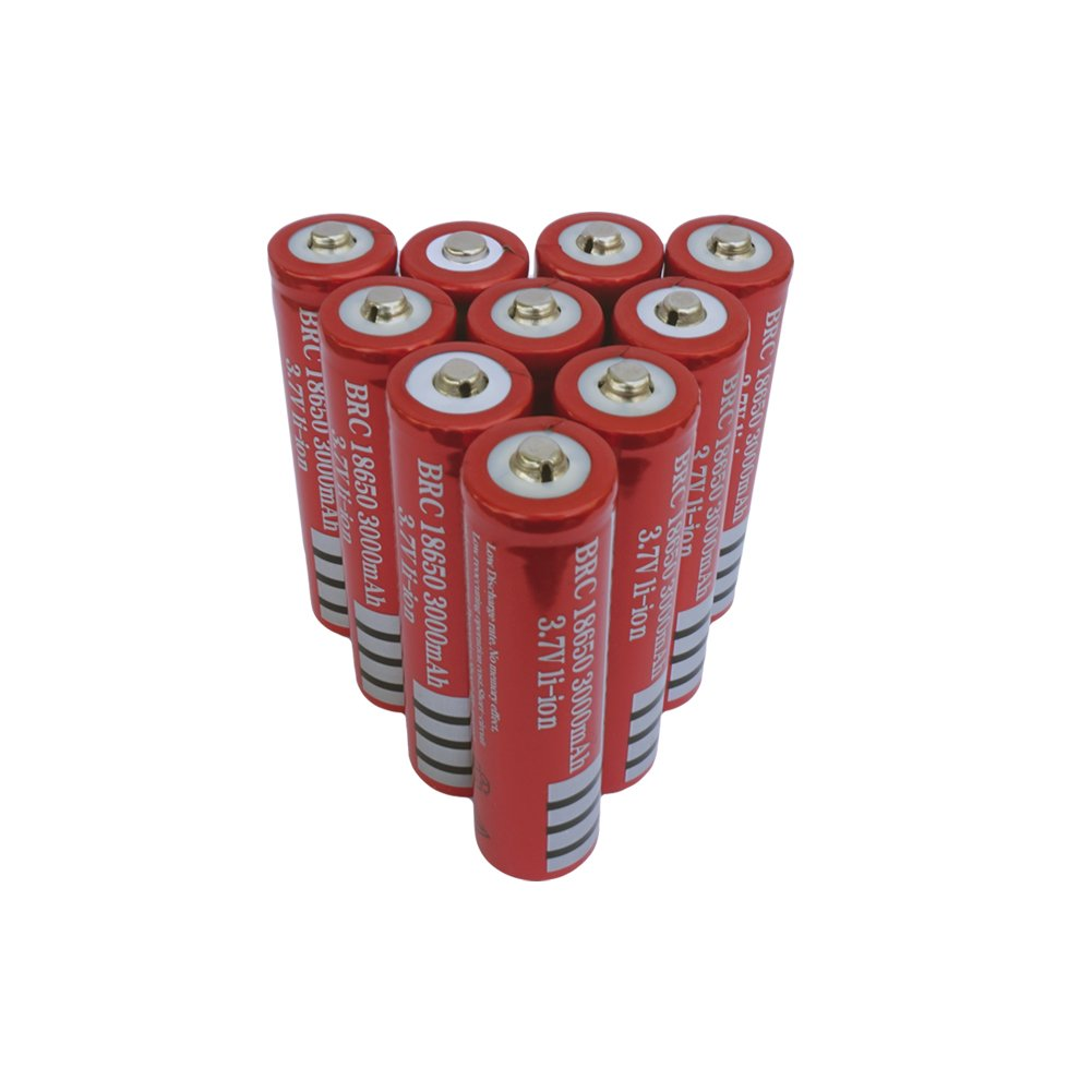 10 Pack 3.7V Rechargeable 18650 Li-ion Battery 10 PCS 3000mAh Lithium Batteries Button Top for LED Flashlight (Not AA battery or Flat Top)