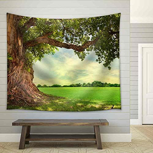 Spring Meadow with Big Tree with Fresh Green Leaves Fabric Wall
