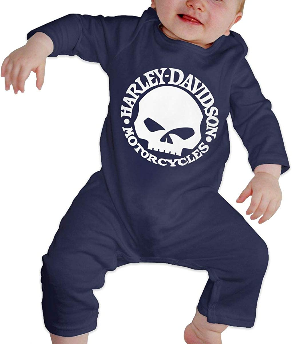 Olyha Baby Long Sleeve Onesies Harley Skull Bodysuit Cotton Toddler Romper Outfits for Boys Girls