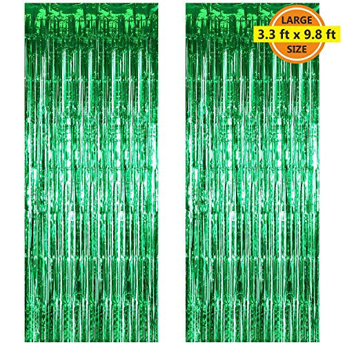 2 Pack 3.3 ft x 9.8 ft Foil Curtains Metallic Fringe Curtains Shimmer Curtain Photo Backdrop for Halloween Christmas Birthday Party Wedding Decor (Green)
