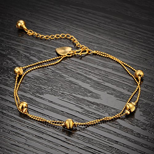 Alimab Romantic Beads 18k Gold Plated Double Rows Chain Anklet Heart Bell Ankle Bracelet Foot