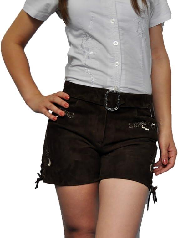 Bayerische Kurze Damen Lederhose mit G/ürtel Trachtenlederhose Frauen kurz Damen Trachtenlederhose im Wildbock Echtleder Braun mit G/ürtel