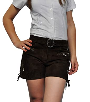 Lederhosen Costumes- Pantalon en Cuir Femme avec Ceinture- Oktoberfest  Costume Femme- Court Pantalon Femme Cuir- Lederhose Trachtenhose Cuir  Véritable ... 848199b2f74
