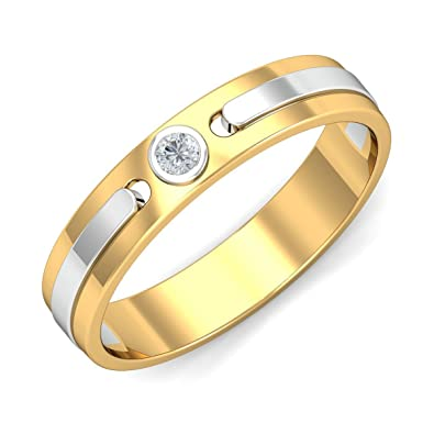 KuberBox Two Colour Gold and Diamond Ring for Men Amazonin Jewellery