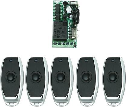 OWSOO Control Remoto Universal Módulo de Receptor RF 433Mhz DC 12V Mini 1CH Inalámbrico Interruptor de Control + 5PCS RF 433 MHz Mandos a Distancia del Transmisor 1527 Chip: Amazon.es: Bricolaje y herramientas