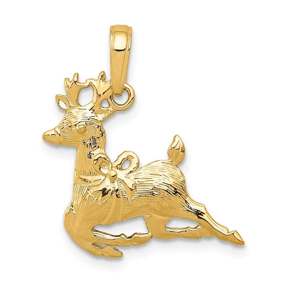 14K Yellow Gold Polished Reindeer Pendant