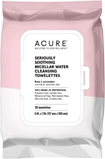 product image for ACURE Seriously Soothing Micellar Water Towelettes | 100% Vegan | For Dry to Sensitive Skin | Rose & Cucumber - Gently Removes Makeup and Cleanses | Simply Wipe & Go | 1 Pack
