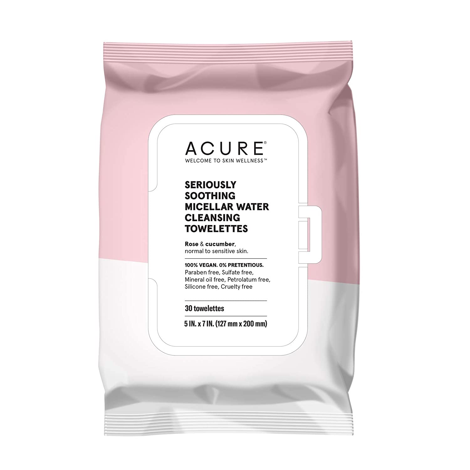 ACURE Seriously Soothing Micellar Water Towelettes | 100% Vegan | For Dry to Sensitive Skin | Rose & Cucumber - Gently Removes Makeup and Cleanses | Simply Wipe & Go | 1 Pack