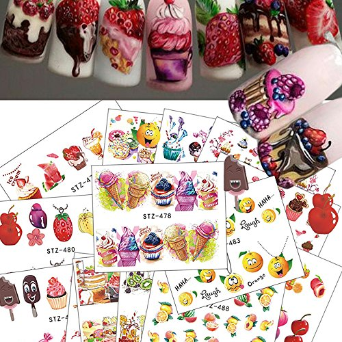 18Pcs NEW Hot Cake/Ice Cream Nail Sticker Mixed Colorful Designs Women Makeup Water Tattoos Nail Art Decals