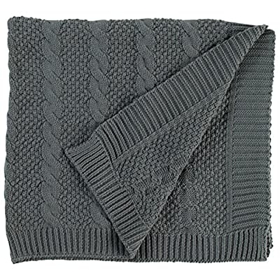 "Stone & Beam Transitional Chunky Cable Knit Throw, 70"" x 40"", Charcoal - Inspired by your favorite sweater, this chunky cable knit throw will have you ready to curl up with a good book. Neutral colors give this classic design an updated look ideal for a bed or for draping over a chair in any style room. 40""W x 70""L 100% cotton - blankets-throws, bedroom-sheets-comforters, bedroom - 61MCzIuT71L. SS400  -"