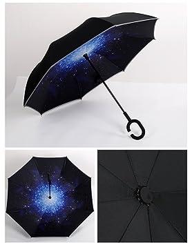 Lluvia Paraguas con reflectante Diseño de rayas, sunproof y windproof-double capa laboratorio mango Golf paraguas, estrella: Amazon.es: Deportes y aire ...