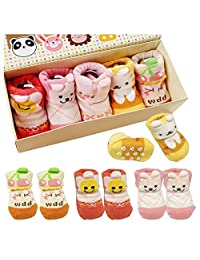5pairs 0-10 months Baby Anti Slip Socks Infant Newborn Turn Cuff Ankle Sock
