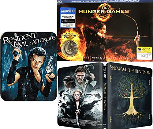 Ladies Triple Exclusive Fantasy Feature Hunger Games with Pendant + Steelbook Snow White & Huntsman + Resident Evil Special Edition Double Feature