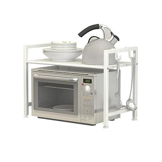 BOBE SHOP- Cocina Horno de microondas Estanterías Gabinetes Artículos de cocina Estanterías Estanterías de 2 plantas (Color : Blanco)