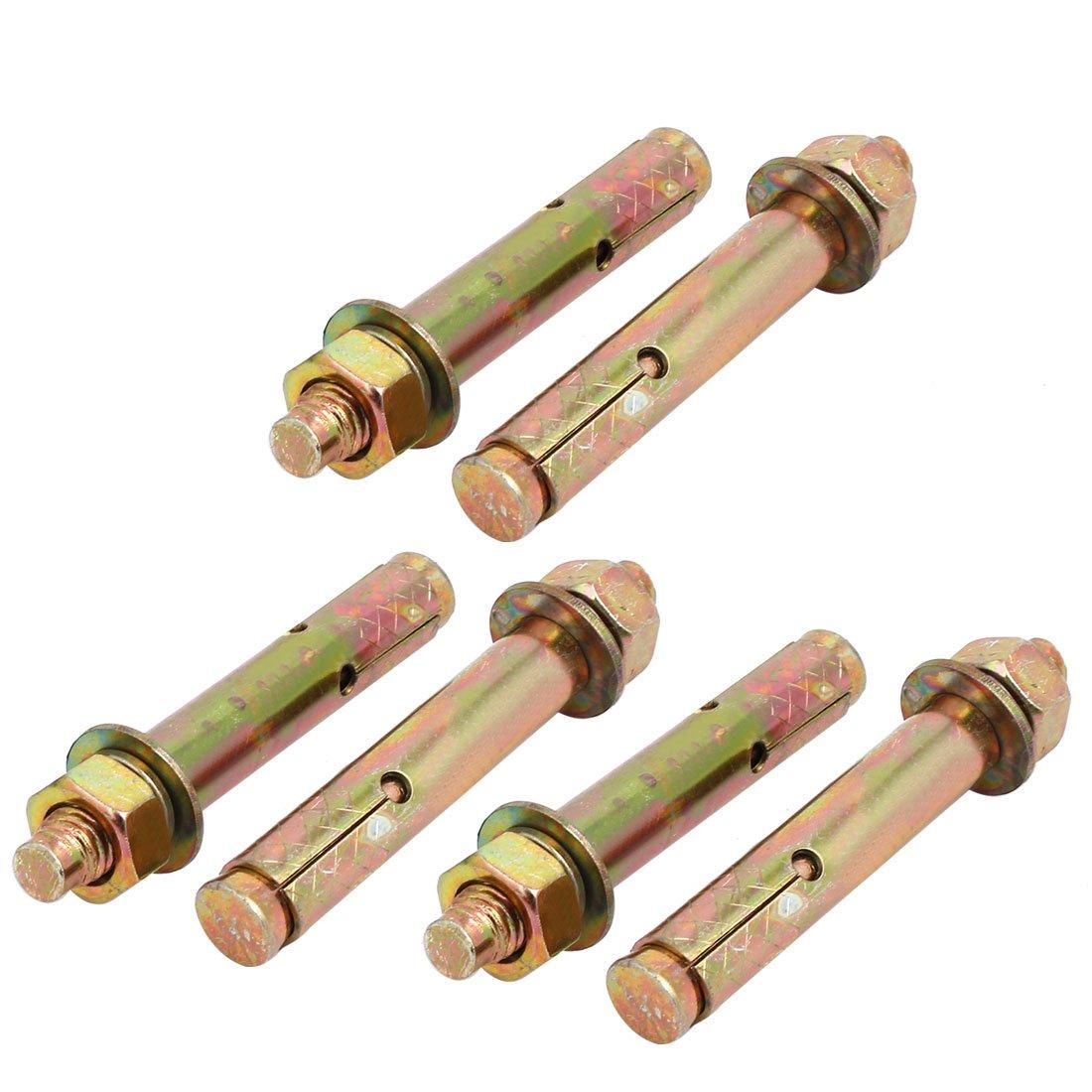 uxcell M12x100mm Zinc Plated Sleeve Anchor Expansion Bolt Bronze Tone 6pcs