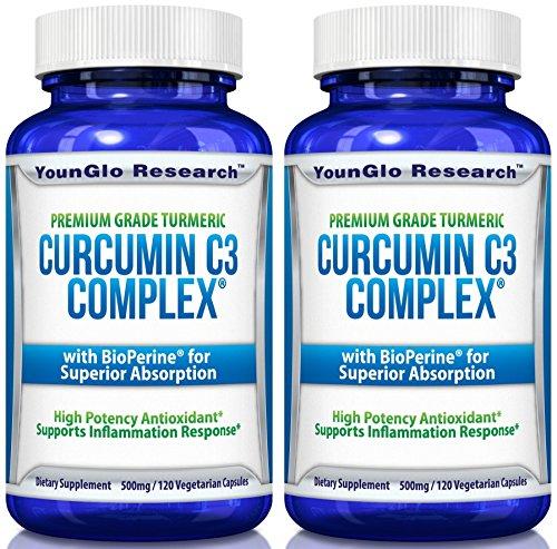 Curcumin C3 Complex with BioPerine – Powerful Health Benefits – Non-GMO Vegetarian Tumeric Capsules 2 Pack