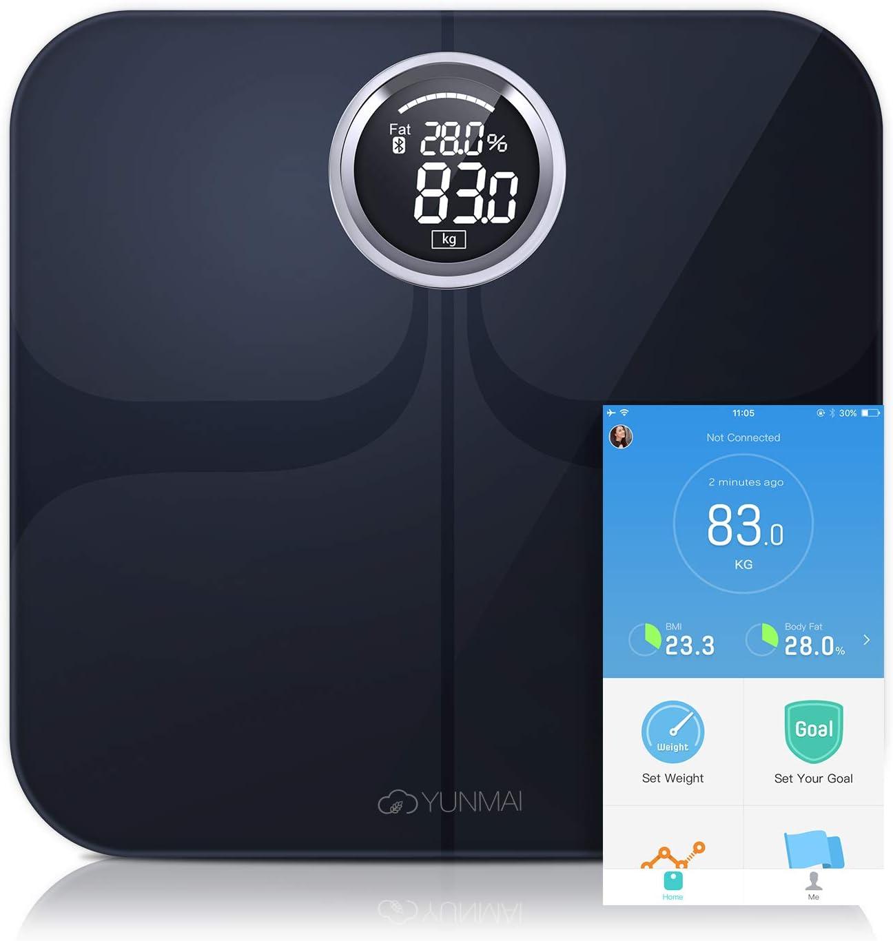 YUNMAI Premium Pèse-personne Impédancemètre Intelligent Balance Conectée Salle de Bains Bluetooth iOS et Android App, 10 Données Corporelles Multi-utilisateurs(Noir)