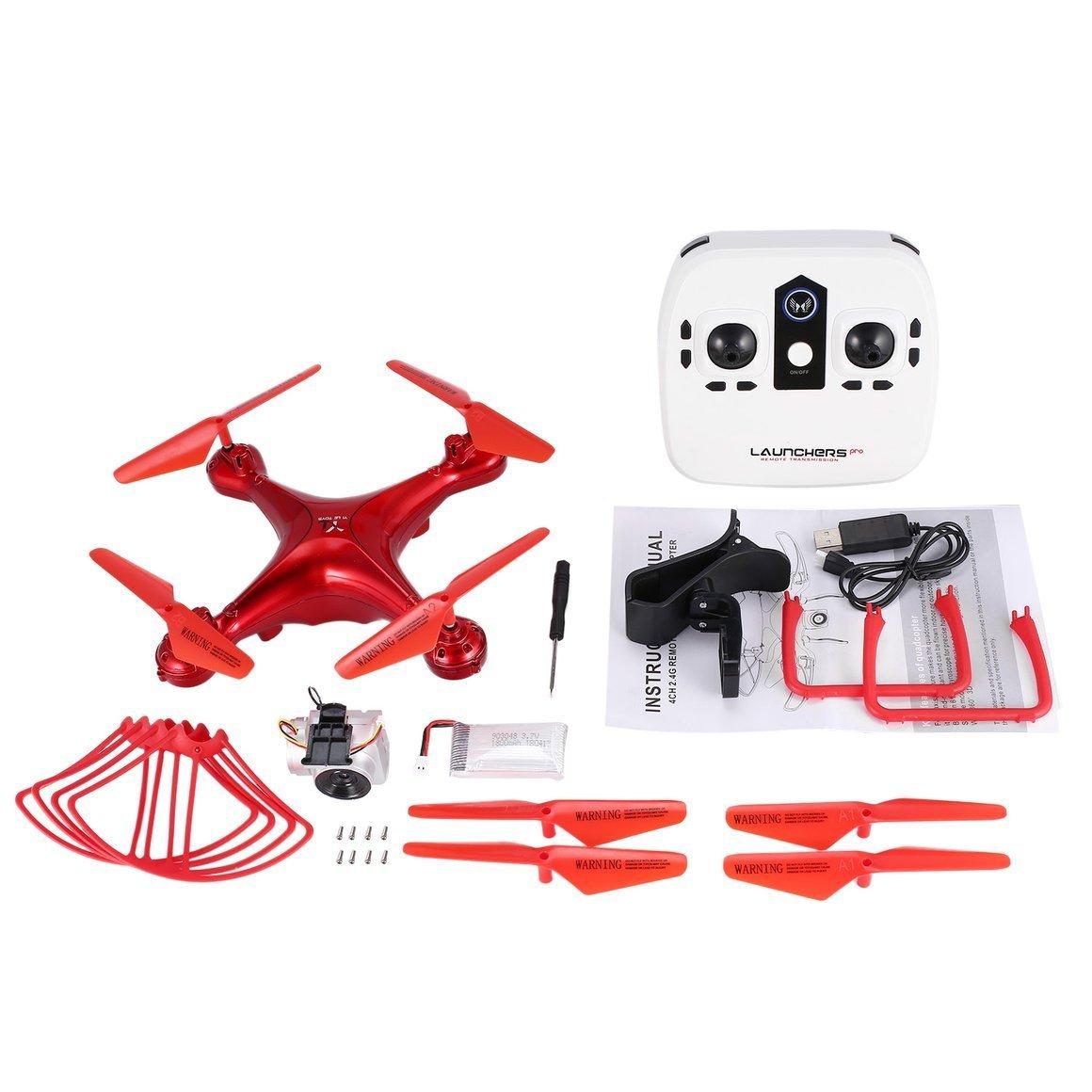 Funrunstore S28 RC Drone 2,4G Selfie Quadcopter Flugzeuge mit Wifi FPV Kamera Höhe Halten Auto Return Headless 3D Flip 18min Langen Flug (Farbe: Rot)