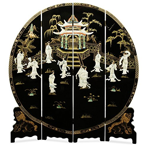 ChinaFurnitureOnline Black Lacquer Floor Screen, 72 Inches Hand Painted Scenery with Dancing Courtly Maiden Mother Pearl Inlay Round Screen (Painted Lacquer Art Hand)